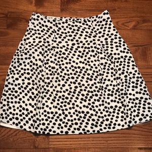 Loft 2/$20 White Skirt with Black Spots